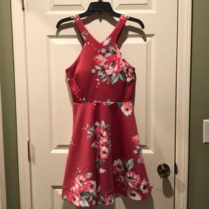 Pink floral semi formal dress
